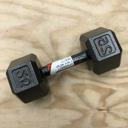 25 lb Pound Dumbbell Cast Iron Hex Weight LBS Hexagon End Si