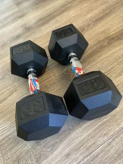 35 Lb Weider Rubber Hex Dumbbells  70 Lbs Total. Brand New.
