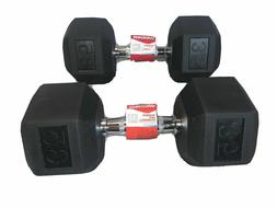 35LB Pair Of Weider Rubber Coated Hex Dumbells 70lbs Total W