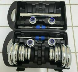 44LB Adjustable Chrome Dumbbell Weight Barbell Lifting Set F