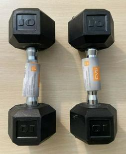 CAP Barbell 15 lbs Rubber Coated Hex Dumbbell, Pair, 30 poun