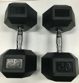 BRAND NEW 65LB PAIR OF RUBBER COATED HEX DUMBBELLS WEIGHTS F
