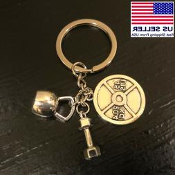 Dumbbell 45lbs 20.4 KG Weight Lifting Gym Silver Pendant Key