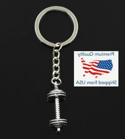 Dumbbell Free Weight Lifting 275lb Gym Key Chain Silver Pend