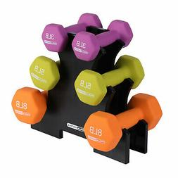 HolaHatha Dumbbell Weight Set w/ 3, 5 and 8 Pound Hand Weigh