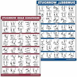 dumbbell workouts and resistance bands exercise poster