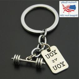 """Dumbbell """"You vs. You"""" Weight Lifting Gym Silver Pendant Key"""