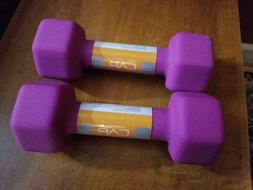 CAP Dumbbells 5lbs Set Of 2 Purple Pair Hex Weights 5 Pounds