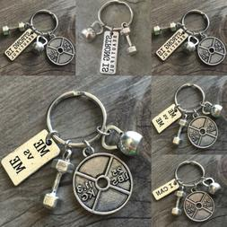 Fitness Keychain Keyring Weight Kettle Dumbbell Barbell Pend