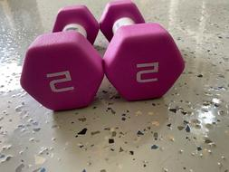 CAP Hex Neoprene 5 lb Pound Set of 2 Dumbbell Weights *FREE