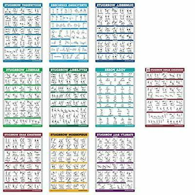 10 pack exercise workout poster set resistance