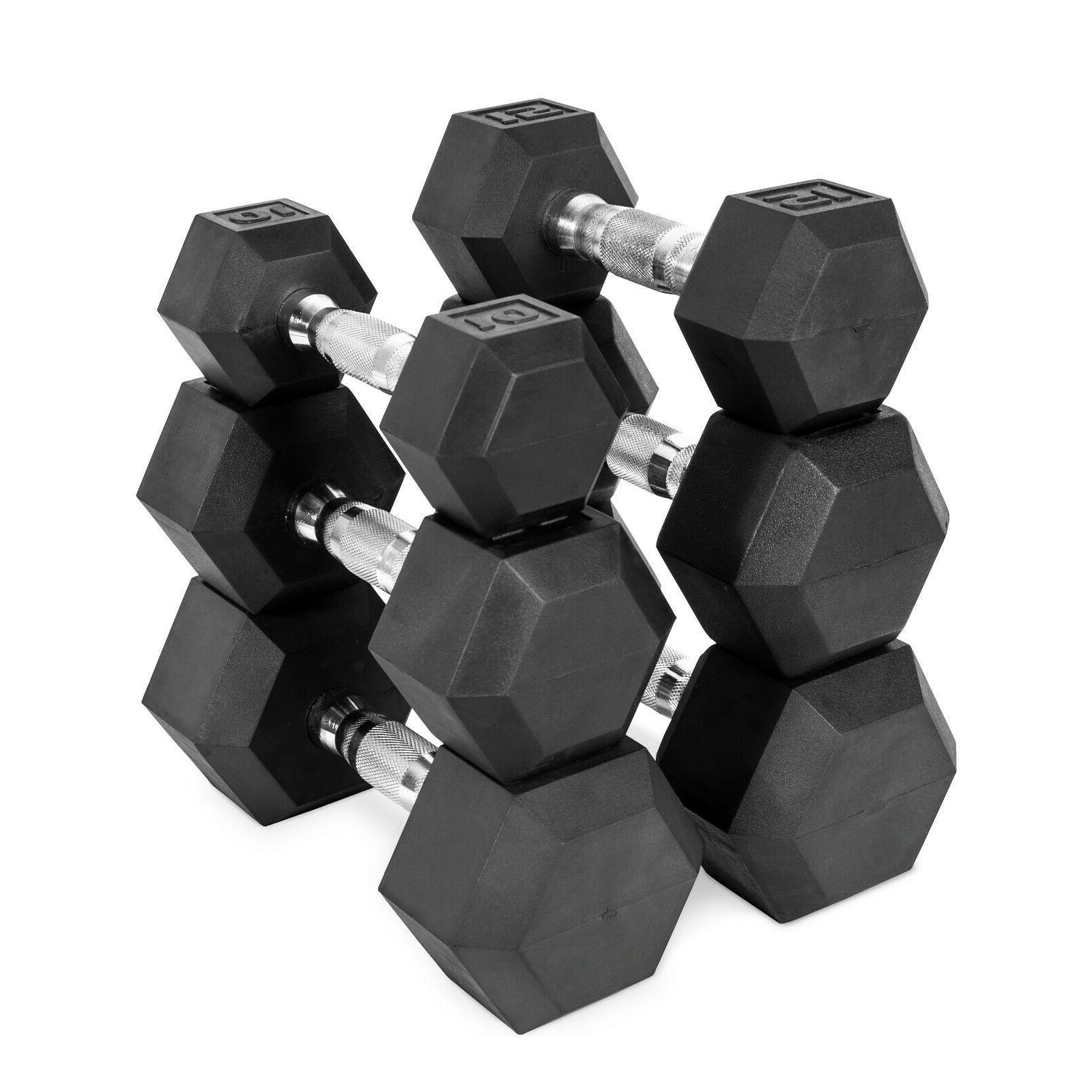 new coated rubber hex dumbbells select weight
