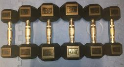 NEW COATED RUBBER HEX DUMBBELLS select-weight 5, 10,15, 20,