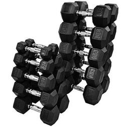 NEW FRAY FITNESS RUBBER HEX DUMBBELLS select-weight 10,15, 2