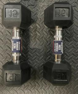 Pair Of Two  15lb Hex Rubber Dumbbells Weight Set 30lbs. Tot