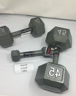 PAIRS CAST IRON HEX DUMBBELLS select-weight 5, 25,45 SET LOT