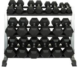 Set of new Rubber Hex Dumbbells, pairs of 5lb - 50lbs in 5lb
