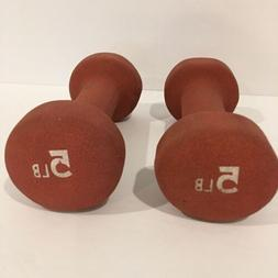 Set of Two Dumbbell Weights 5 Pounds Each