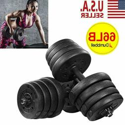 Totall 66 LB Weight Dumbbell Set Cap Gym Barbell Plates Body