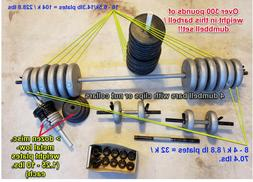 WEIGHT LIFTING SET - BARBELL, DUMBELLS & BICEPS-CURL STABI